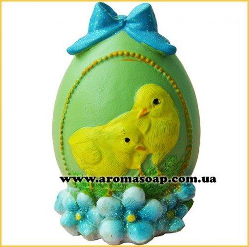 Яйцо с бантом и цыплятами 3D элит-форма
